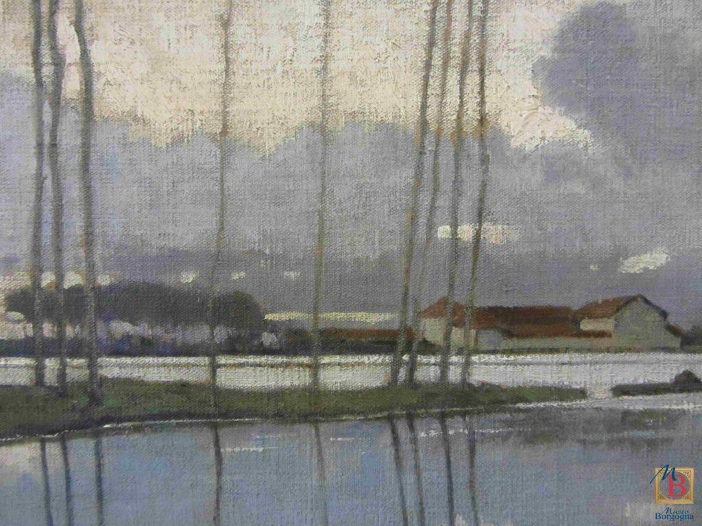 Enzo Gazzone, Luci del mattino, particolare, olio su tela, Vercelli, Museo Borgogna